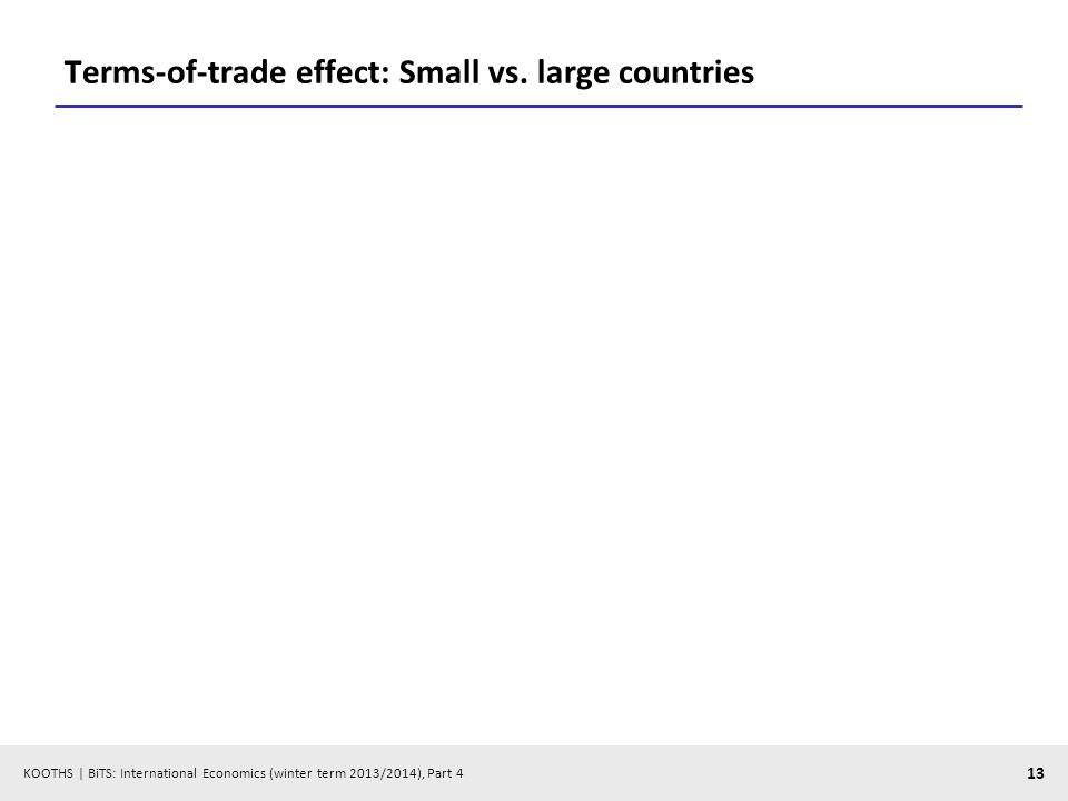 KOOTHS | BiTS: International Economics (winter term 2013/2014), Part 4 13 Terms-of-trade effect: Small vs.