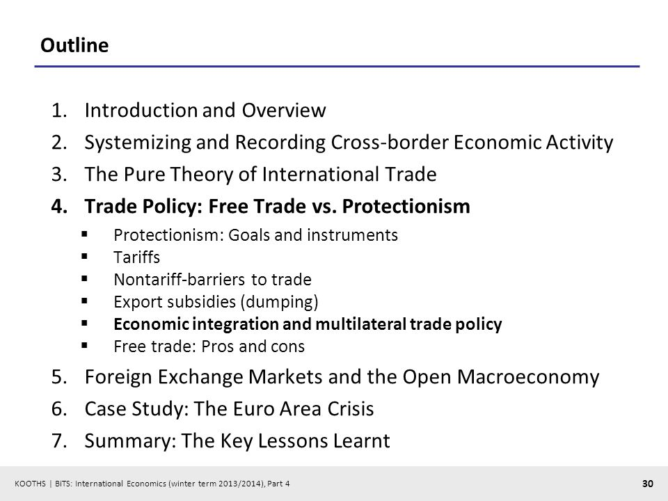KOOTHS | BiTS: International Economics (winter term 2013/2014), Part 4 30 Outline 1.Introduction and Overview 2.Systemizing and Recording Cross-border Economic Activity 3.The Pure Theory of International Trade 4.Trade Policy: Free Trade vs.