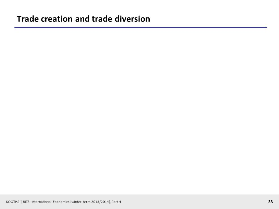KOOTHS | BiTS: International Economics (winter term 2013/2014), Part 4 33 Trade creation and trade diversion
