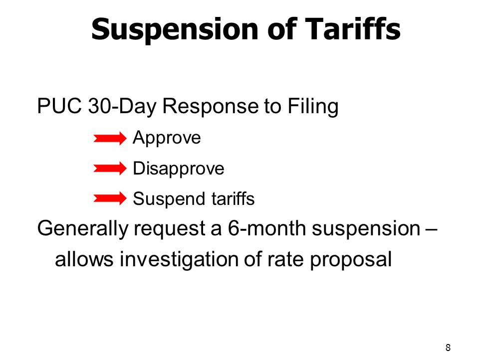 Suspension of Tariffs PUC 30-Day Response to Filing Approve Disapprove Suspend tariffs Generally request a 6-month suspension – allows investigation of rate proposal 8
