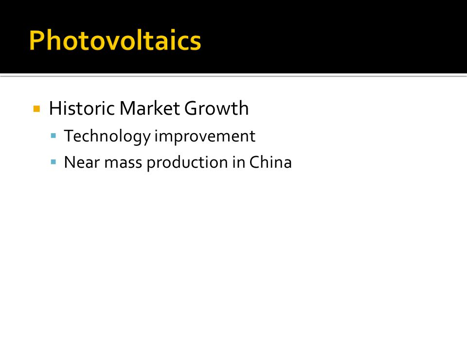 Historic Market Growth Technology improvement Near mass production in China