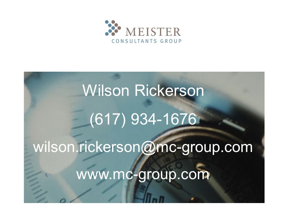 Wilson Rickerson (617) 934-1676 wilson.rickerson@mc-group.com www.mc-group.com