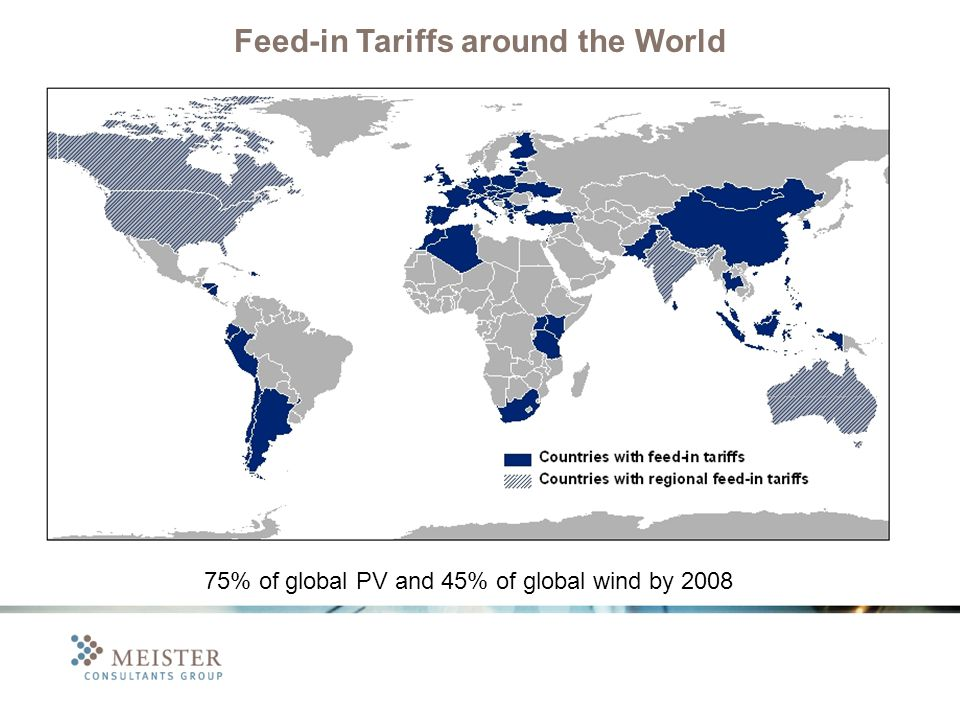 75% of global PV and 45% of global wind by 2008 Feed-in Tariffs around the World