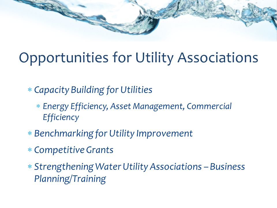 Capacity Building for Utilities Energy Efficiency, Asset Management, Commercial Efficiency Benchmarking for Utility Improvement Competitive Grants Strengthening Water Utility Associations – Business Planning/Training Opportunities for Utility Associations