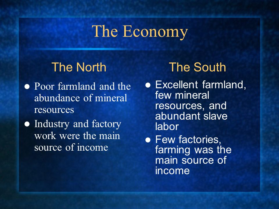 The Economy Poor farmland and the abundance of mineral resources Industry and factory work were the main source of income Excellent farmland, few mineral resources, and abundant slave labor Few factories, farming was the main source of income The NorthThe South
