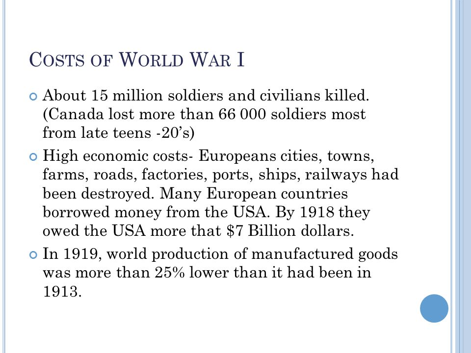 C OSTS OF W ORLD W AR I About 15 million soldiers and civilians killed.