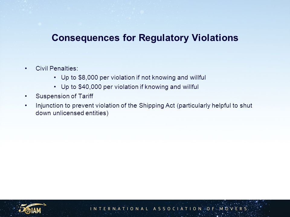 Consequences for Regulatory Violations Civil Penalties: Up to $8,000 per violation if not knowing and willful Up to $40,000 per violation if knowing and willful Suspension of Tariff Injunction to prevent violation of the Shipping Act (particularly helpful to shut down unlicensed entities)