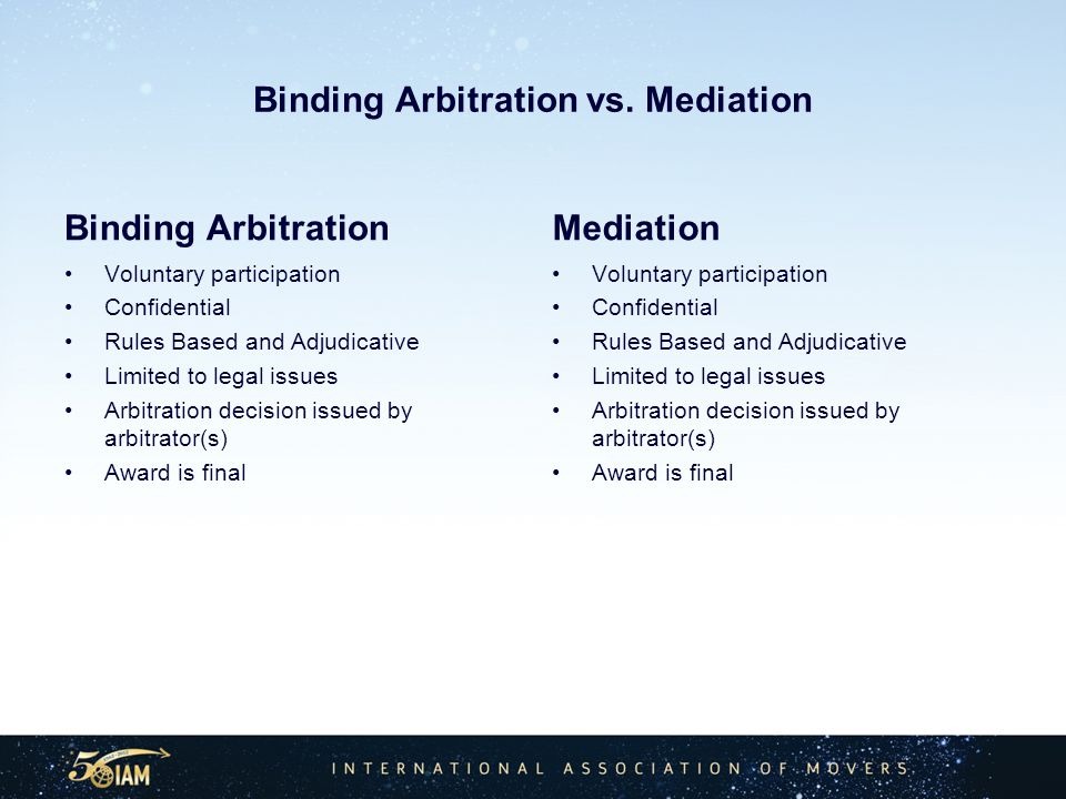 Binding Arbitration vs.