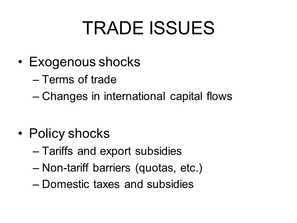 TRADE ISSUES Exogenous shocks –Terms of trade –Changes in international capital flows Policy shocks –Tariffs and export subsidies –Non-tariff barriers (quotas, etc.) –Domestic taxes and subsidies