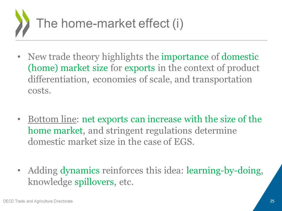New trade theory highlights the importance of domestic (home) market size for exports in the context of product differentiation, economies of scale, and transportation costs.