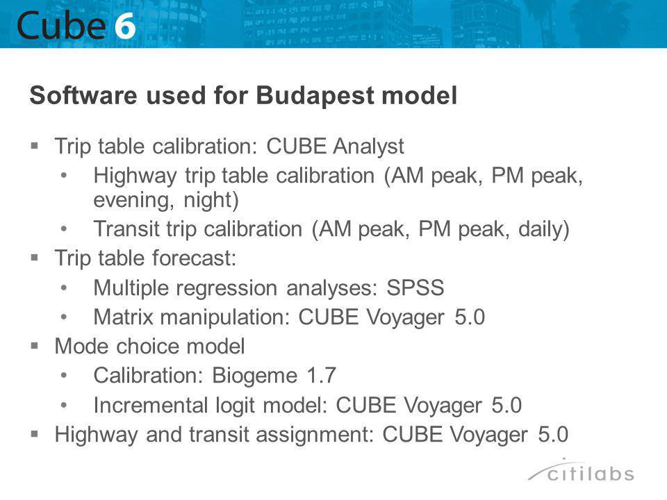 Trip table calibration: CUBE Analyst Highway trip table calibration (AM peak, PM peak, evening, night) Transit trip calibration (AM peak, PM peak, daily) Trip table forecast: Multiple regression analyses: SPSS Matrix manipulation: CUBE Voyager 5.0 Mode choice model Calibration: Biogeme 1.7 Incremental logit model: CUBE Voyager 5.0 Highway and transit assignment: CUBE Voyager 5.0 Software used for Budapest model