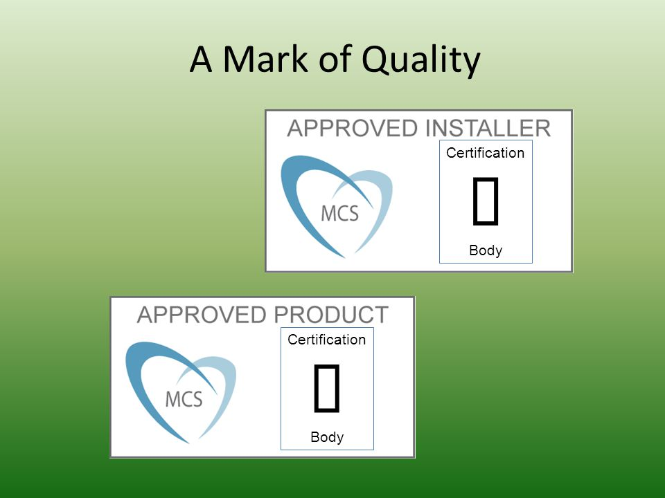 A Mark of Quality Certification Body Certification Body
