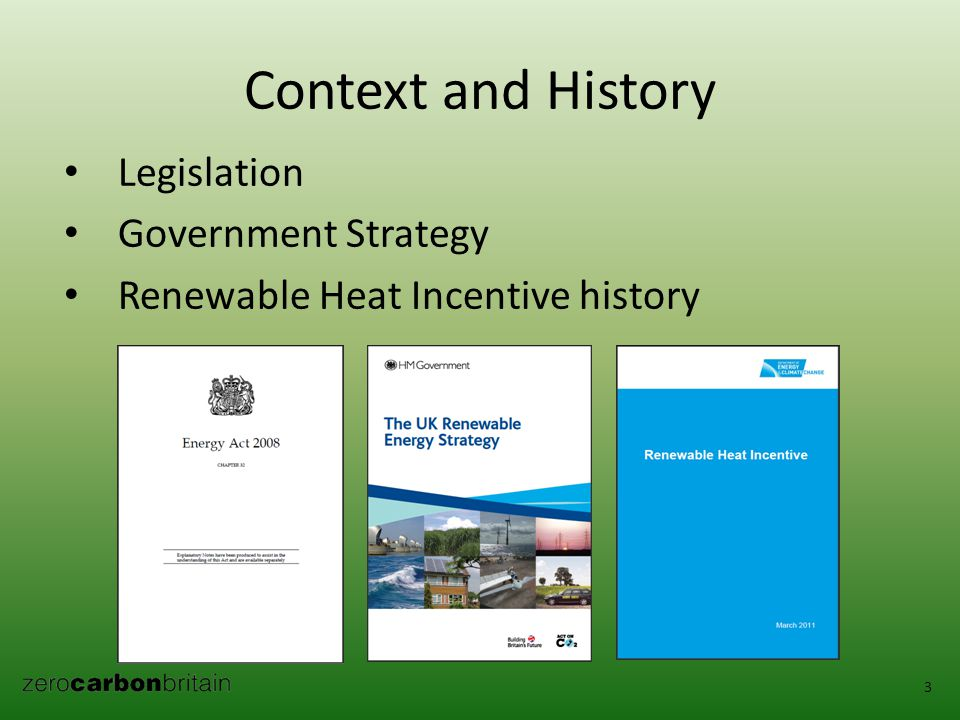 Context and History Legislation Government Strategy Renewable Heat Incentive history 3