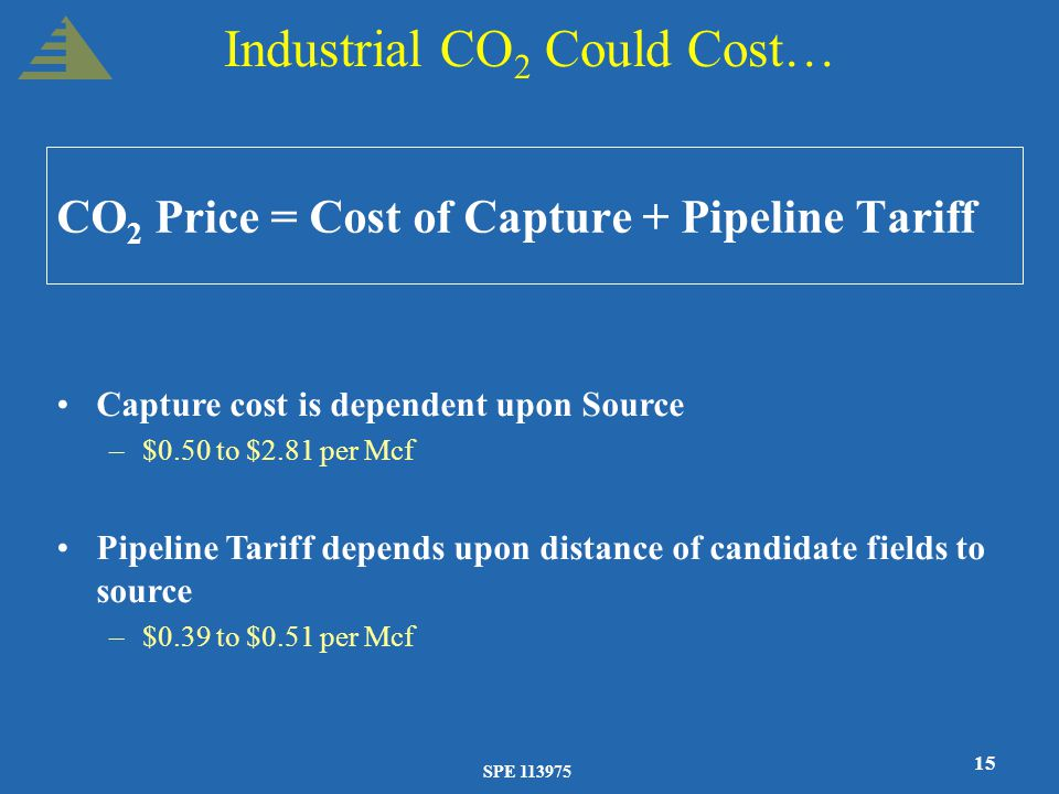 SPE 113975 15 Industrial CO 2 Could Cost… CO 2 Price = Cost of Capture + Pipeline Tariff Capture cost is dependent upon Source –$0.50 to $2.81 per Mcf Pipeline Tariff depends upon distance of candidate fields to source –$0.39 to $0.51 per Mcf