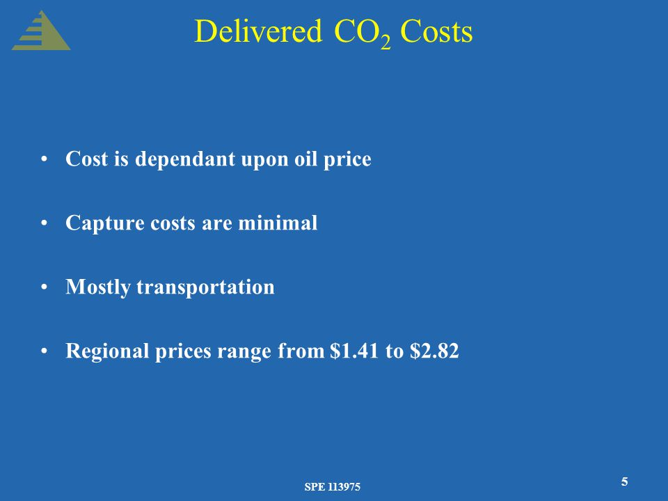 SPE 113975 5 Delivered CO 2 Costs Cost is dependant upon oil price Capture costs are minimal Mostly transportation Regional prices range from $1.41 to $2.82