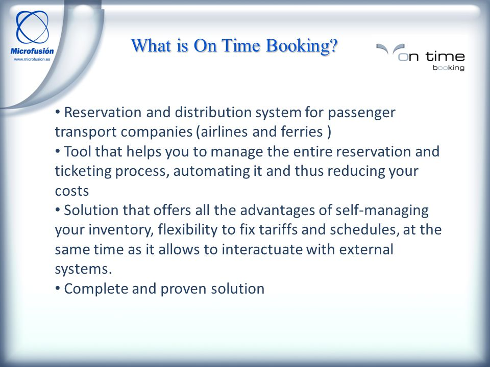 What is On Time Booking.