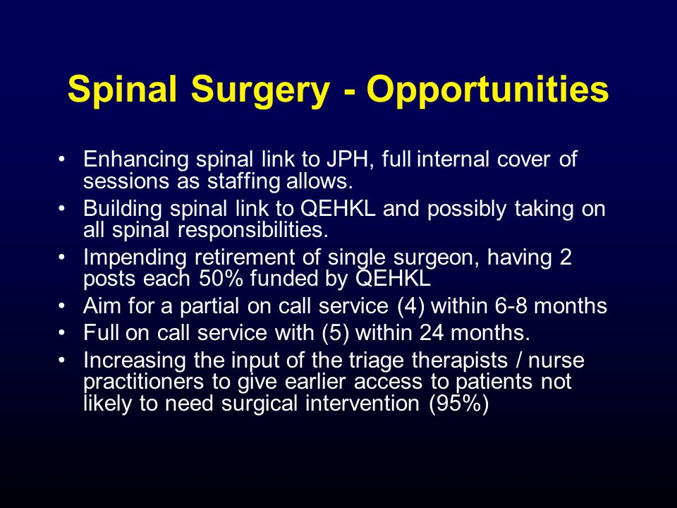 Spinal Surgery - Opportunities Enhancing spinal link to JPH, full internal cover of sessions as staffing allows.
