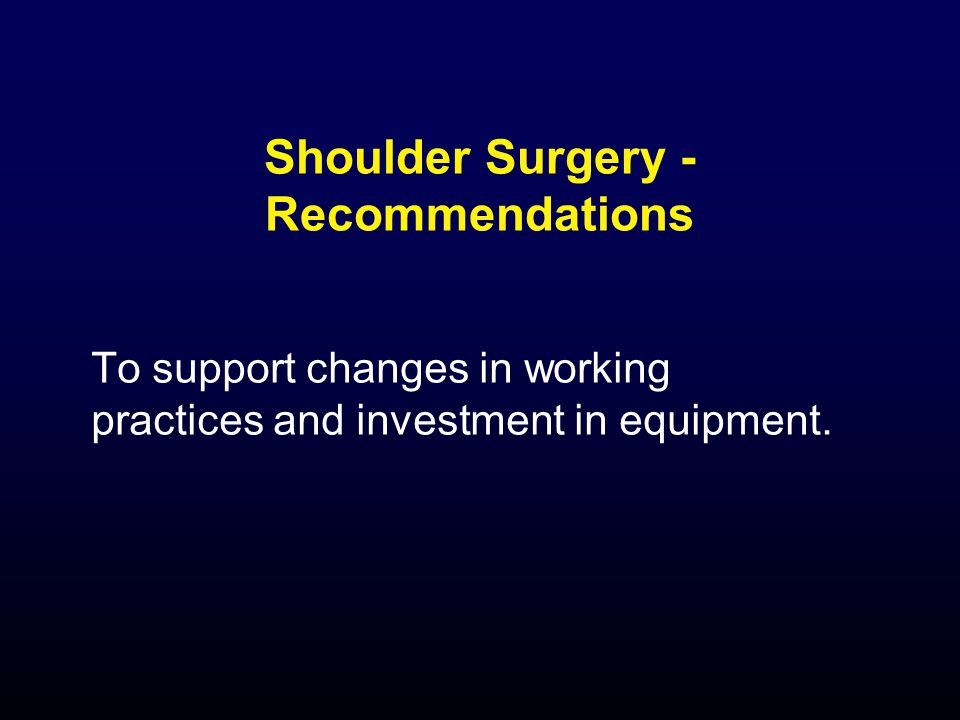 Shoulder Surgery - Recommendations To support changes in working practices and investment in equipment.