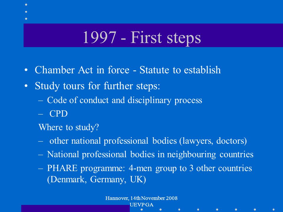 Hannover, 14th November 2008 UEVP GA 1997 - First steps Chamber Act in force - Statute to establish Study tours for further steps: –Code of conduct and disciplinary process – CPD Where to study.
