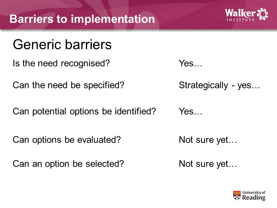 Barriers to implementation Generic barriers Is the need recognised Yes… Can the need be specified Strategically - yes… Can potential options be identified Yes… Can options be evaluated Not sure yet… Can an option be selected Not sure yet…