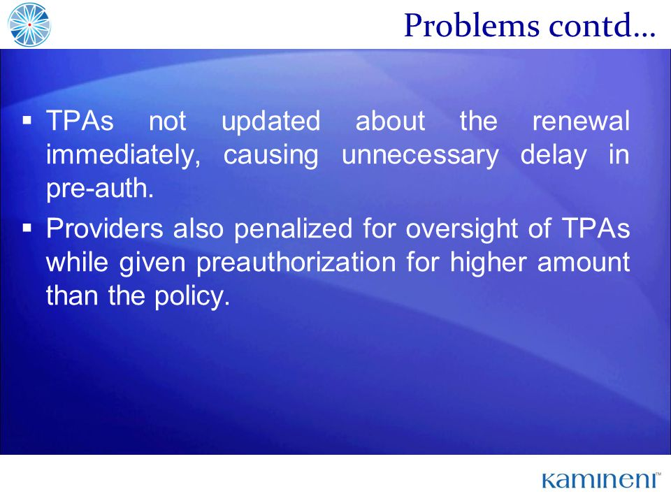 Problems contd… TPAs not updated about the renewal immediately, causing unnecessary delay in pre-auth.