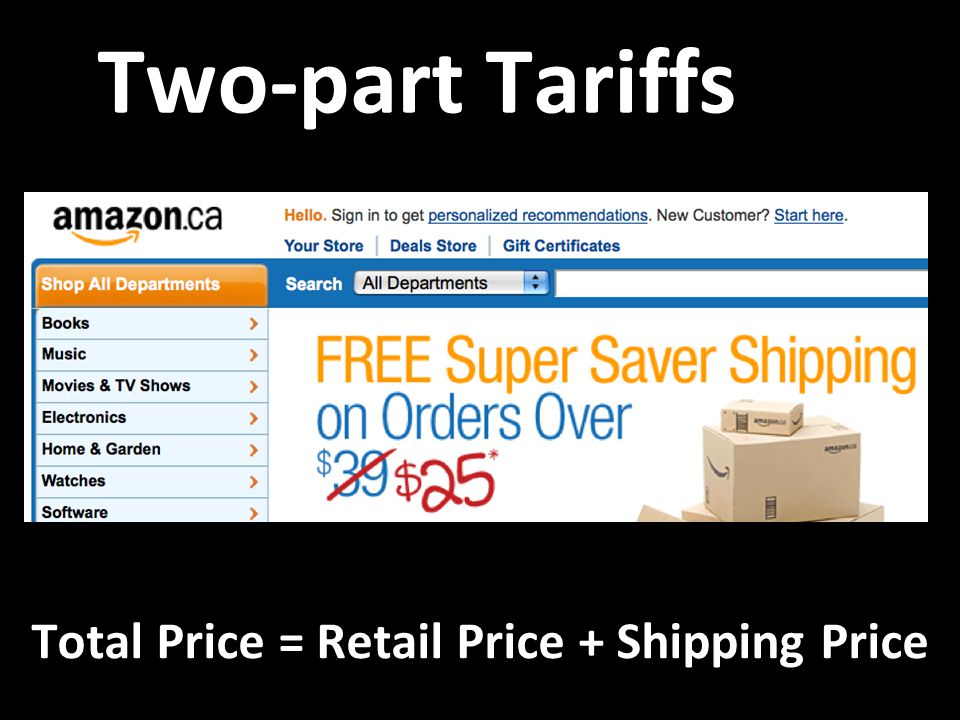 Two-part Tariffs Total Price = Retail Price + Shipping Price Total Price = Retail Price + Shipping Price