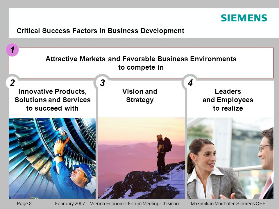 Page 3 February 2007 Vienna Economic Forum Meeting Chisinau Maximilian Mairhofer, Siemens CEE Attractive Markets and Favorable Business Environments to compete in 1 Critical Success Factors in Business Development 11 2 Vision and Strategy 3 1 Leaders and Employees to realize 4 Innovative Products, Solutions and Services to succeed with