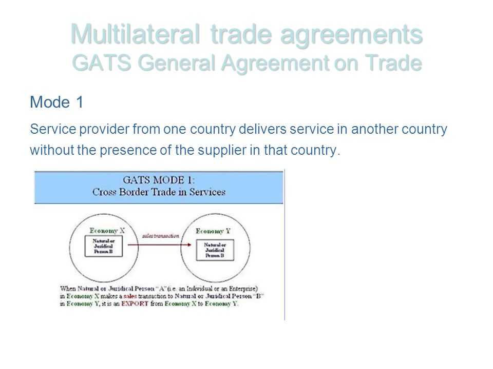 Multilateral trade agreements GATS General Agreement on Trade Mode 1 Service provider from one country delivers service in another country without the presence of the supplier in that country.