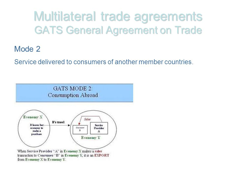 Multilateral trade agreements GATS General Agreement on Trade Mode 2 Service delivered to consumers of another member countries.