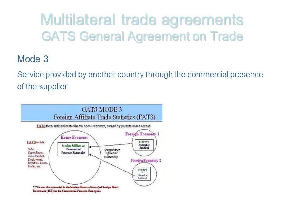 Multilateral trade agreements GATS General Agreement on Trade Mode 3 Service provided by another country through the commercial presence of the supplier.