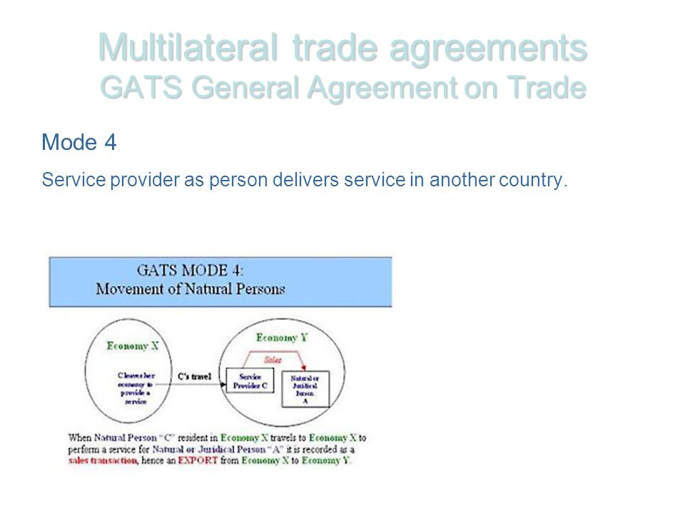 Multilateral trade agreements GATS General Agreement on Trade Mode 4 Service provider as person delivers service in another country.