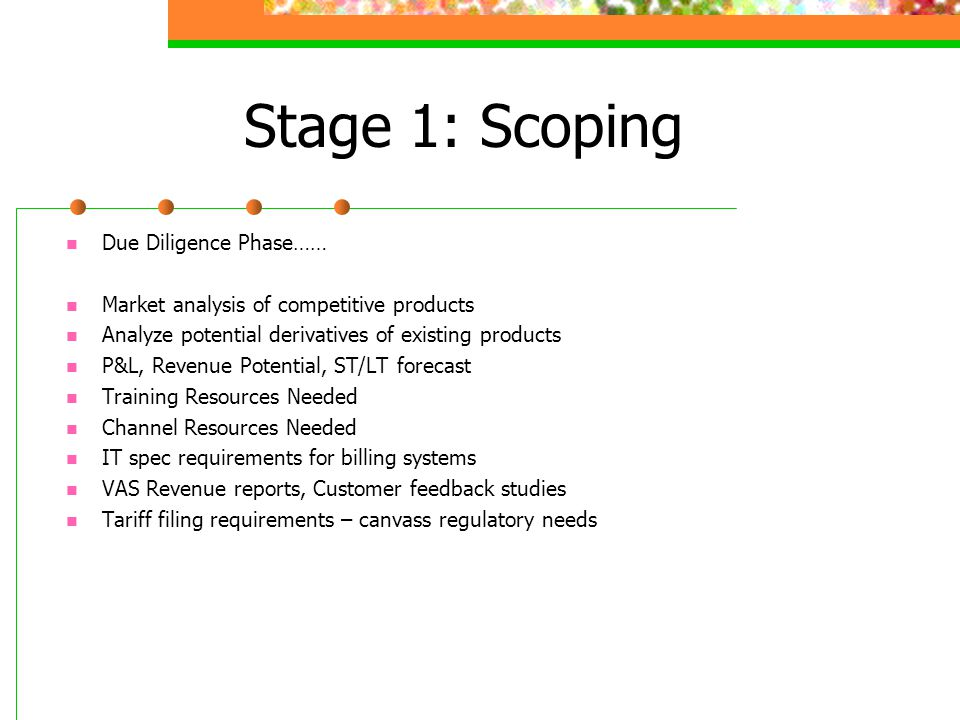 Stage 1: Scoping Due Diligence Phase…… Market analysis of competitive products Analyze potential derivatives of existing products P&L, Revenue Potential, ST/LT forecast Training Resources Needed Channel Resources Needed IT spec requirements for billing systems VAS Revenue reports, Customer feedback studies Tariff filing requirements – canvass regulatory needs