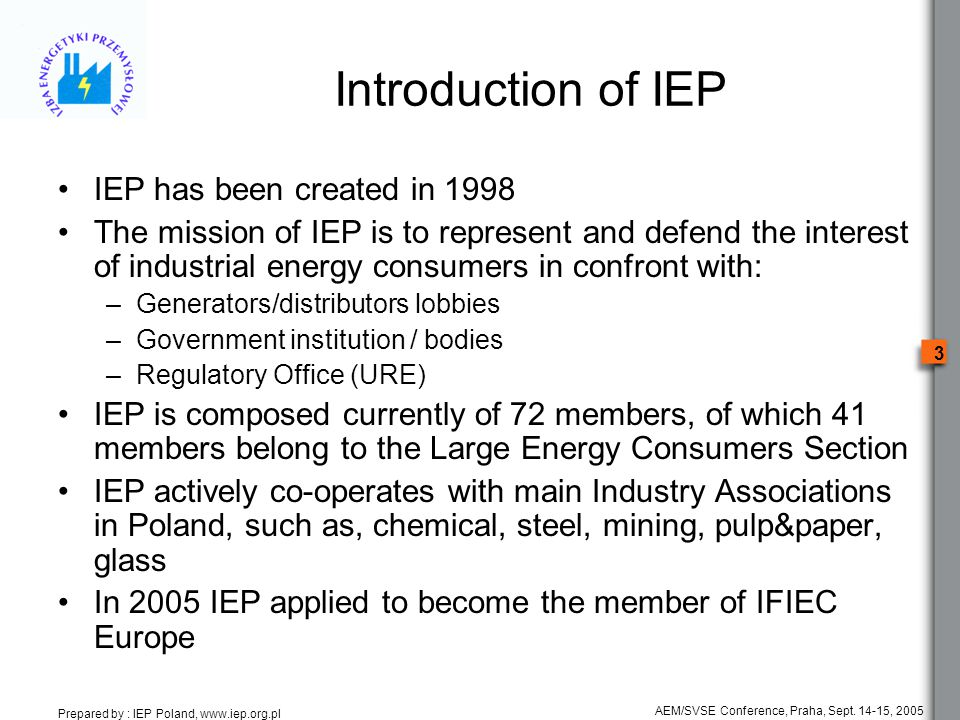 Prepared by : IEP Poland, www.iep.org.pl 3 AEM/SVSE Conference, Praha, Sept.