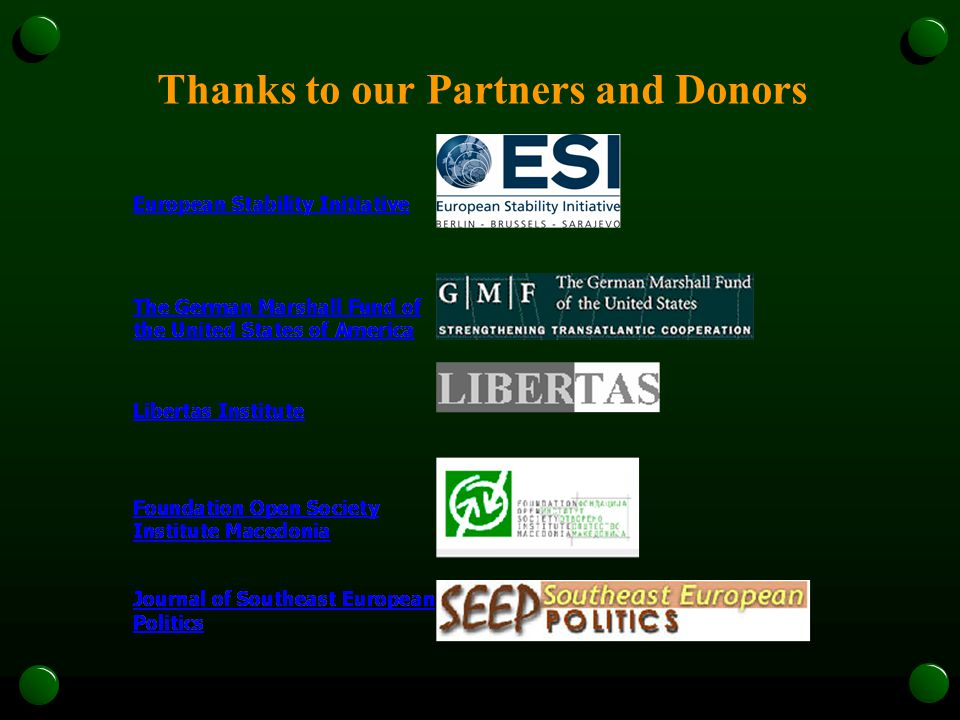 Thanks to our Partners and Donors