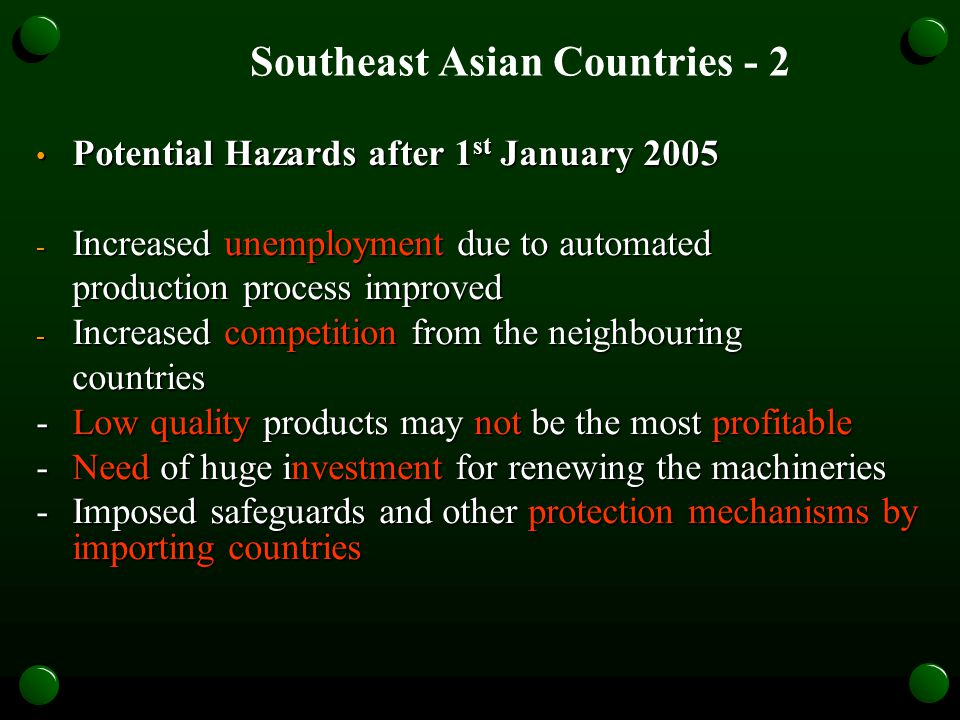 Potential Hazards after 1 st January 2005 Potential Hazards after 1 st January 2005 - Increased unemployment due to automated production process improved - Increased competition from the neighbouring countries - Low quality products may not be the most profitable - Need of huge investment for renewing the machineries - Imposed safeguards and other protection mechanisms by importing countries Southeast Asian Countries - 2
