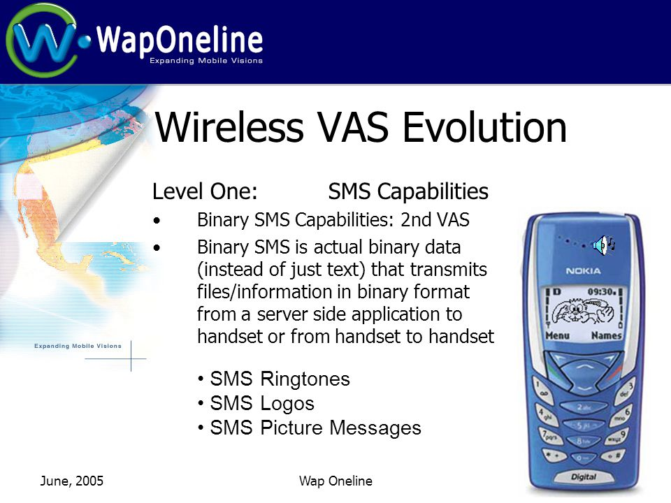 June, 2005Wap Oneline Wireless VAS Evolution Level One: SMS Capabilities Binary SMS Capabilities: 2nd VAS Binary SMS is actual binary data (instead of just text) that transmits files/information in binary format from a server side application to handset or from handset to handset.