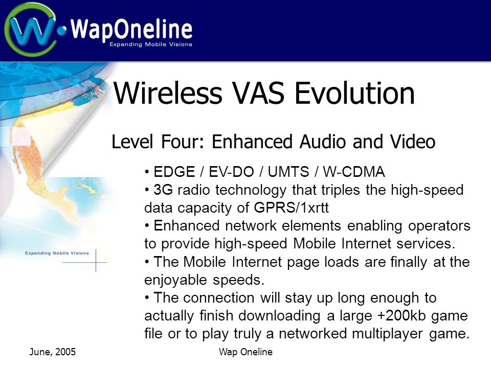 June, 2005Wap Oneline Wireless VAS Evolution Level Four: Enhanced Audio and Video EDGE / EV-DO / UMTS / W-CDMA 3G radio technology that triples the high-speed data capacity of GPRS/1xrtt Enhanced network elements enabling operators to provide high-speed Mobile Internet services.