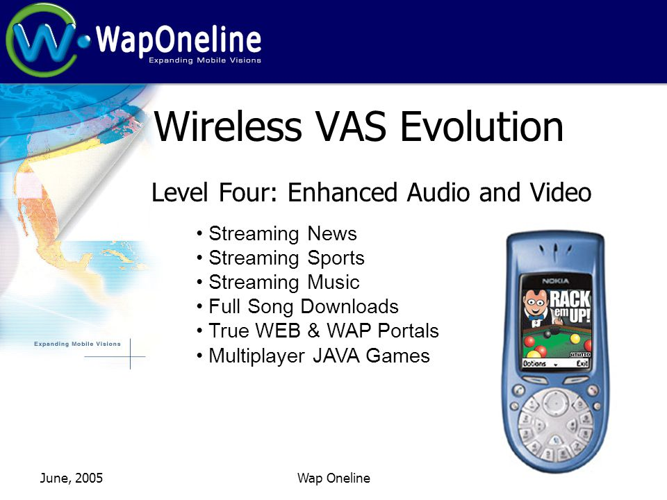 June, 2005Wap Oneline Wireless VAS Evolution Level Four: Enhanced Audio and Video Streaming News Streaming Sports Streaming Music Full Song Downloads True WEB & WAP Portals Multiplayer JAVA Games