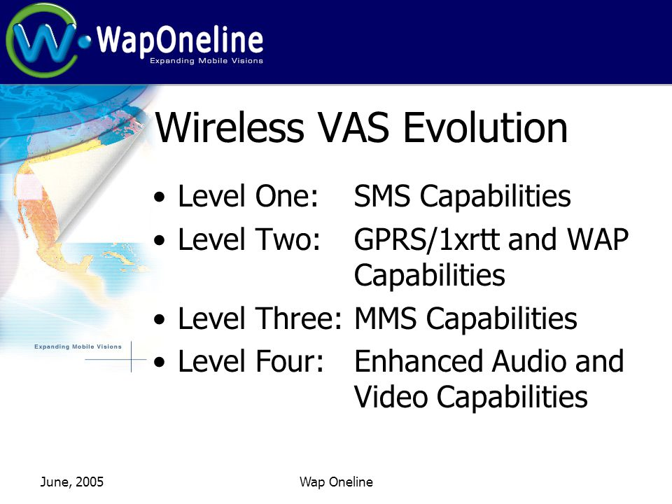June, 2005Wap Oneline Wireless VAS Evolution Level One: SMS Capabilities Level Two: GPRS/1xrtt and WAP Capabilities Level Three:MMS Capabilities Level Four: Enhanced Audio and Video Capabilities