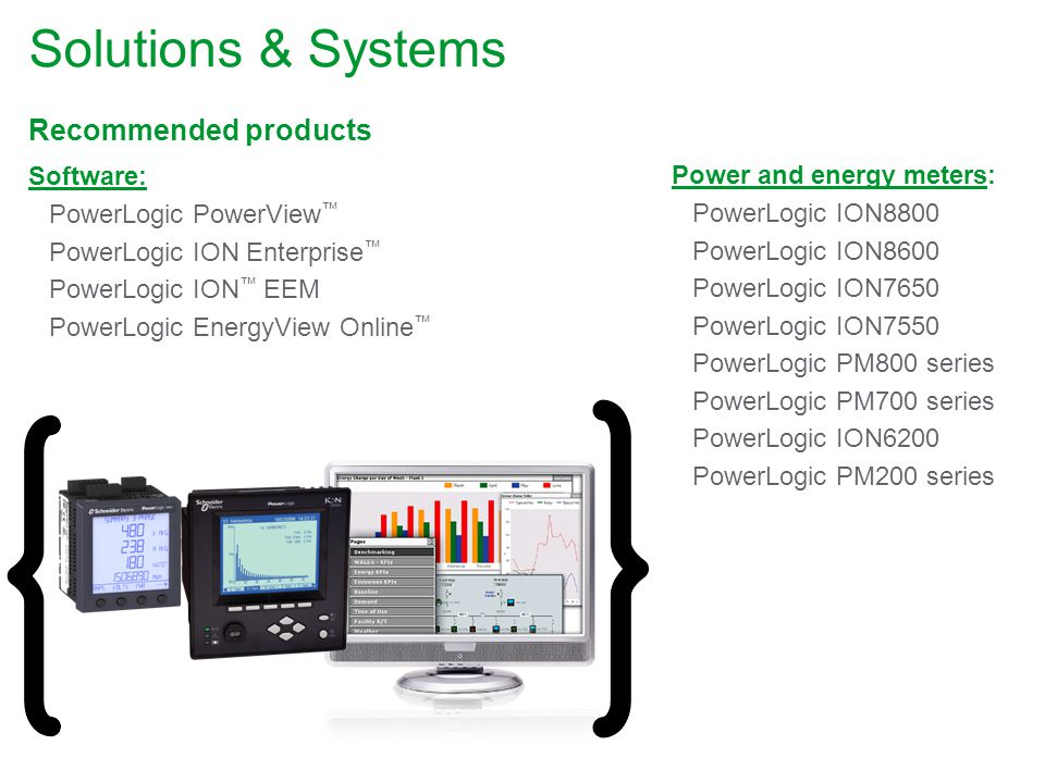 Solutions & Systems Recommended products Software: PowerLogic PowerView PowerLogic ION Enterprise PowerLogic ION EEM PowerLogic EnergyView Online Power and energy meters: PowerLogic ION8800 PowerLogic ION8600 PowerLogic ION7650 PowerLogic ION7550 PowerLogic PM800 series PowerLogic PM700 series PowerLogic ION6200 PowerLogic PM200 series