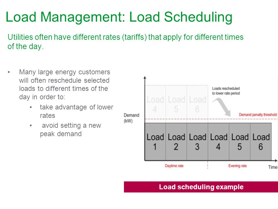Load Management: Load Scheduling Utilities often have different rates (tariffs) that apply for different times of the day.