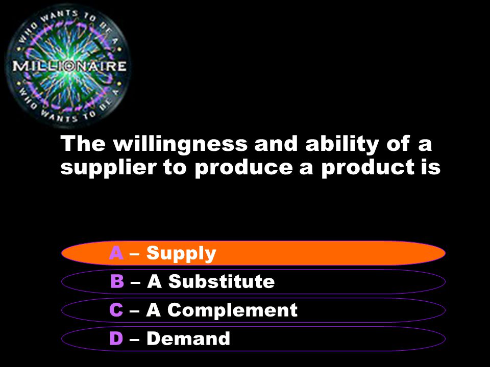 The willingness and ability of a supplier to produce a product is B – A Substitute A – Supply C – A Complement D – Demand A – Supply