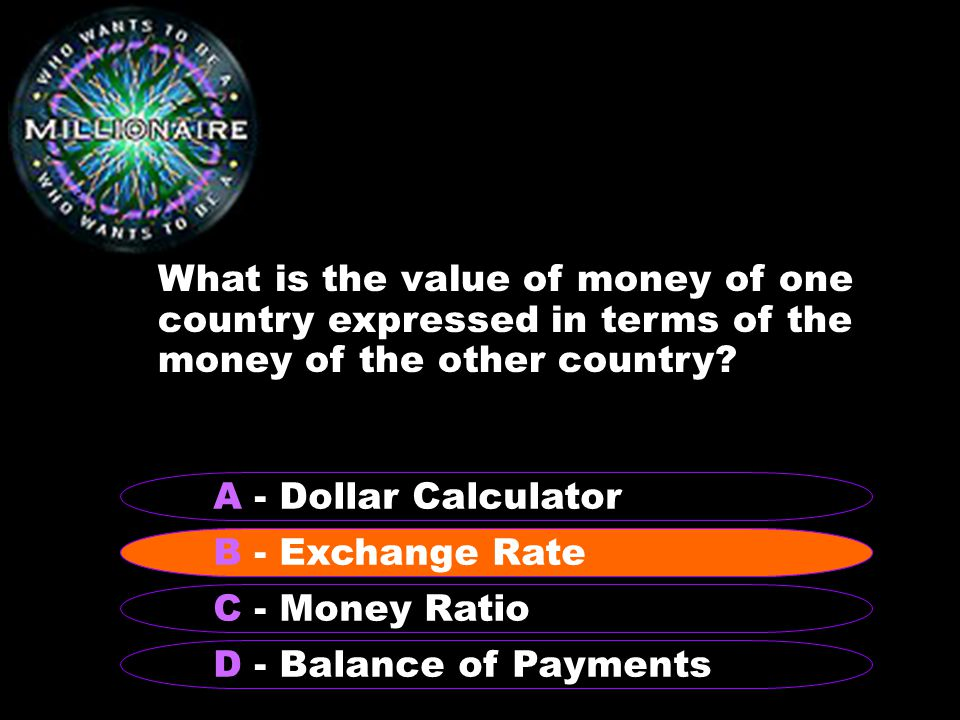 What is the value of money of one country expressed in terms of the money of the other country.