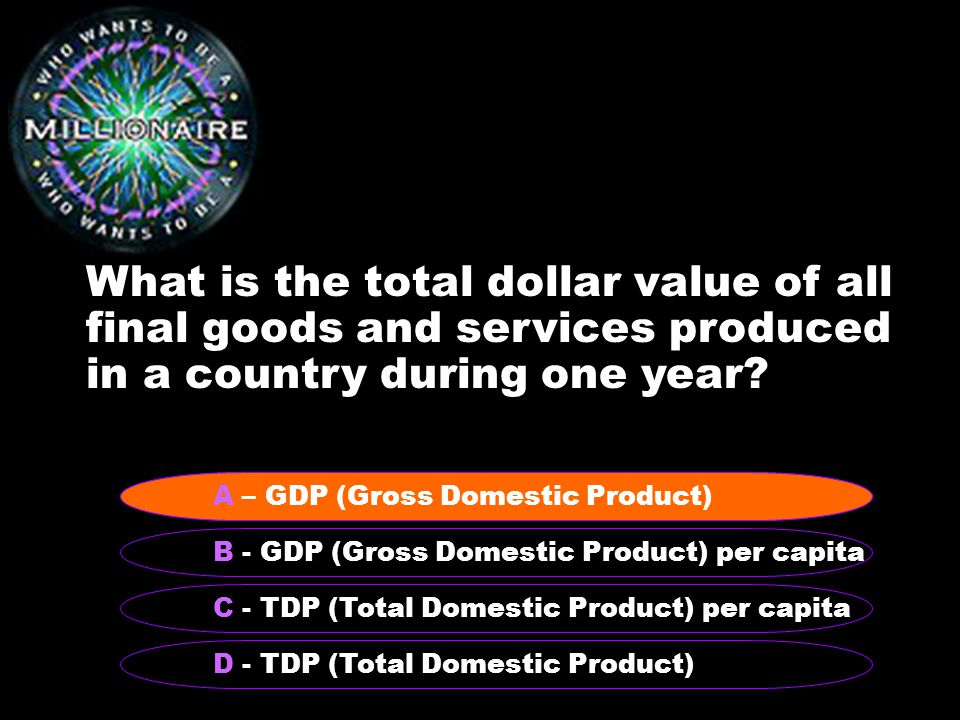 What is the total dollar value of all final goods and services produced in a country during one year.