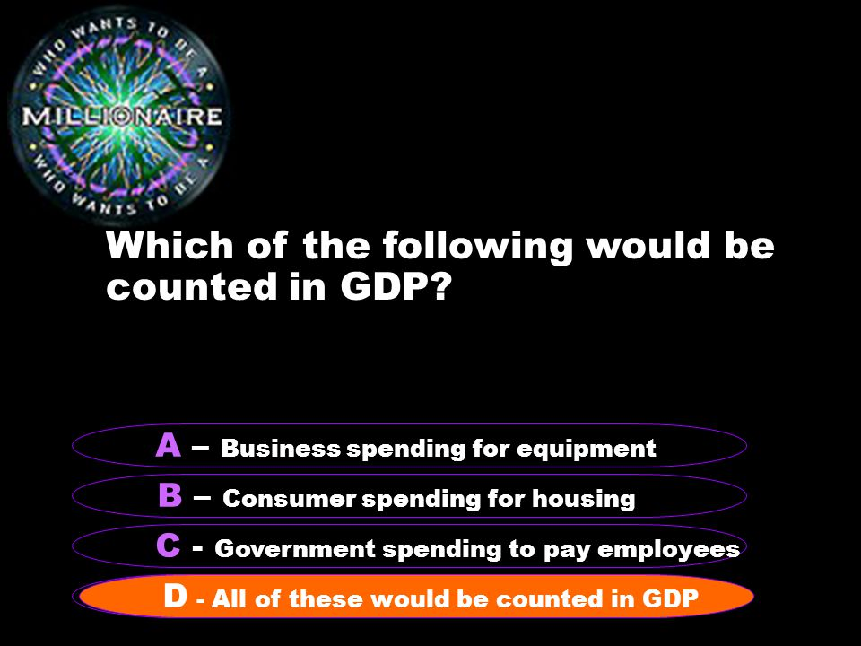 Which of the following would be counted in GDP.