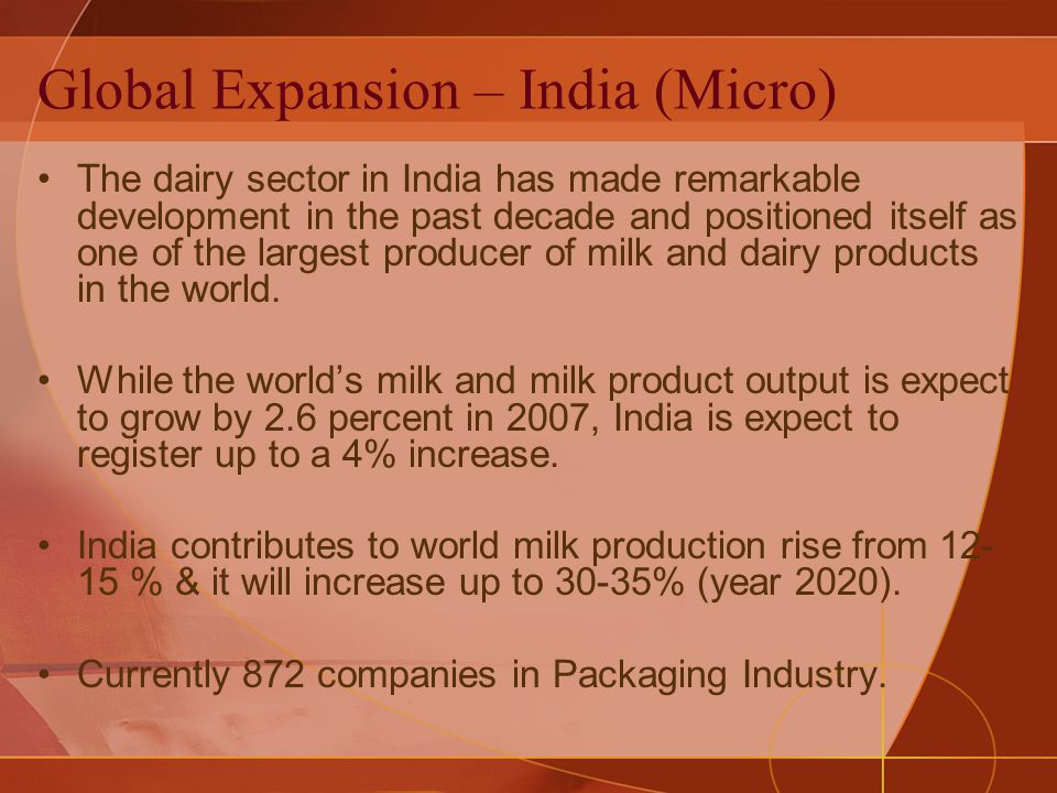 Global Expansion – India (Micro) The dairy sector in India has made remarkable development in the past decade and positioned itself as one of the largest producer of milk and dairy products in the world.