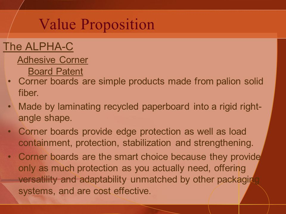 Value Proposition The ALPHA-C Corner boards are simple products made from palion solid fiber.