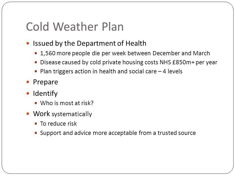 Cold Weather Plan Issued by the Department of Health 1,560 more people die per week between December and March Disease caused by cold private housing costs NHS £850m+ per year Plan triggers action in health and social care – 4 levels Prepare Identify Who is most at risk.