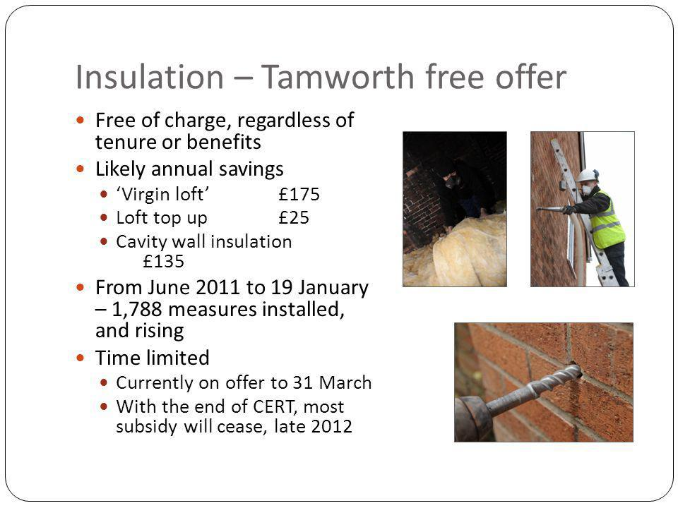 Insulation – Tamworth free offer Free of charge, regardless of tenure or benefits Likely annual savings Virgin loft£175 Loft top up£25 Cavity wall insulation £135 From June 2011 to 19 January – 1,788 measures installed, and rising Time limited Currently on offer to 31 March With the end of CERT, most subsidy will cease, late 2012