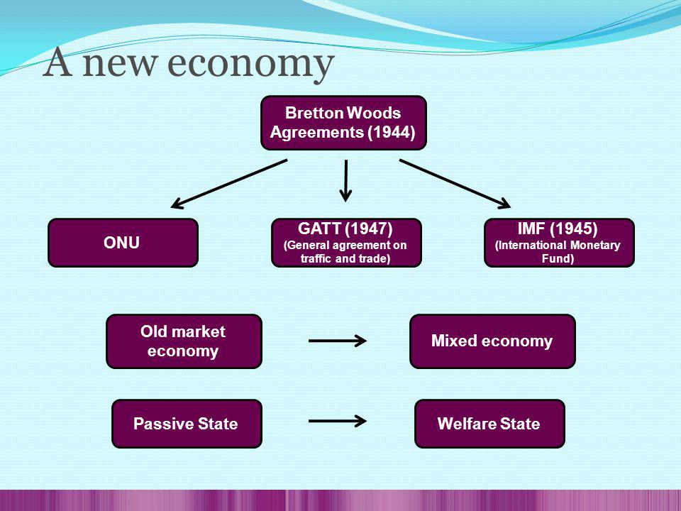 Bretton Woods Agreements (1944) ONU GATT (1947) (General agreement on traffic and trade) IMF (1945) (International Monetary Fund) Old market economy Mixed economy Passive StateWelfare State A new economy